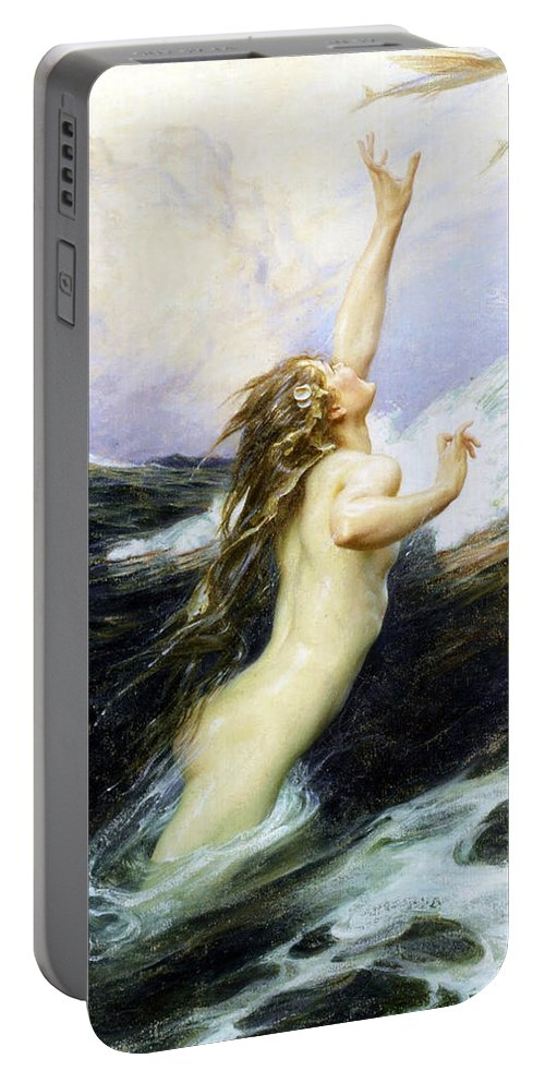 Herbert James Draper Portable Battery Charger featuring the photograph Flying Fish by Munir Alawi