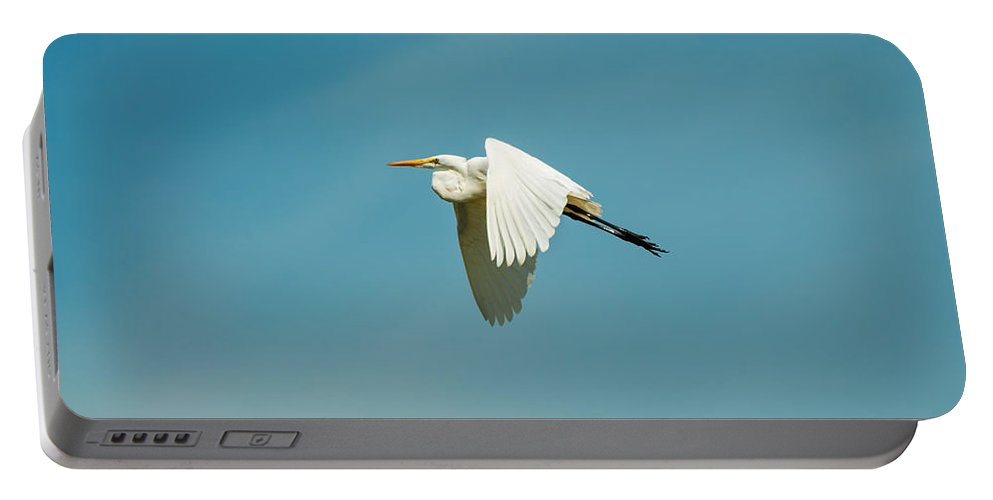 Egret Portable Battery Charger featuring the photograph Flying Great Egret by Jess Kraft