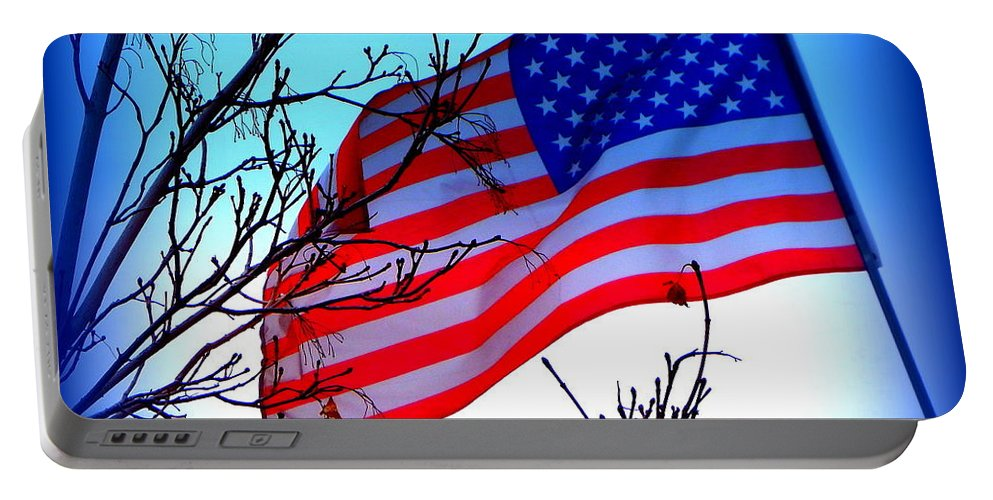 Acrylic Prints Portable Battery Charger featuring the photograph Flying Ol Glory by Bobbee Rickard