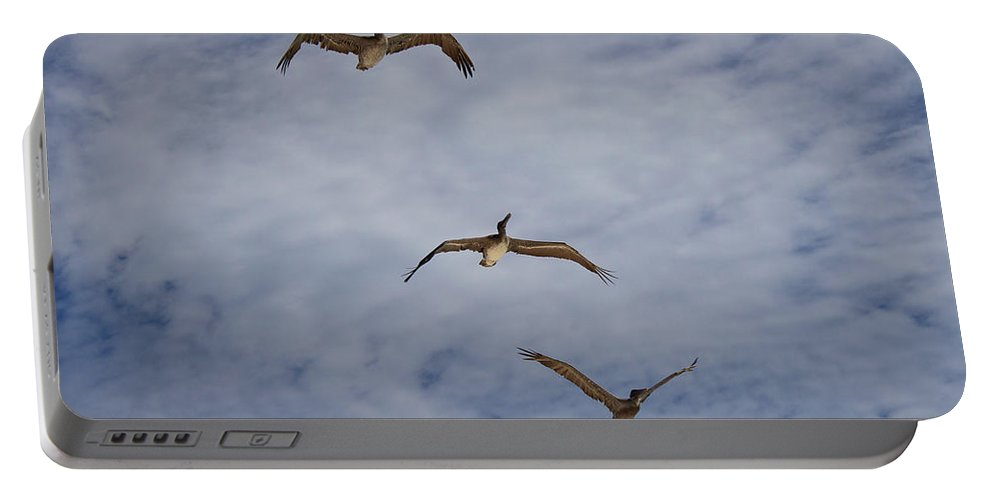 Flying Pelicans Portable Battery Charger featuring the photograph Flying Pelicans by Genaro Rojas