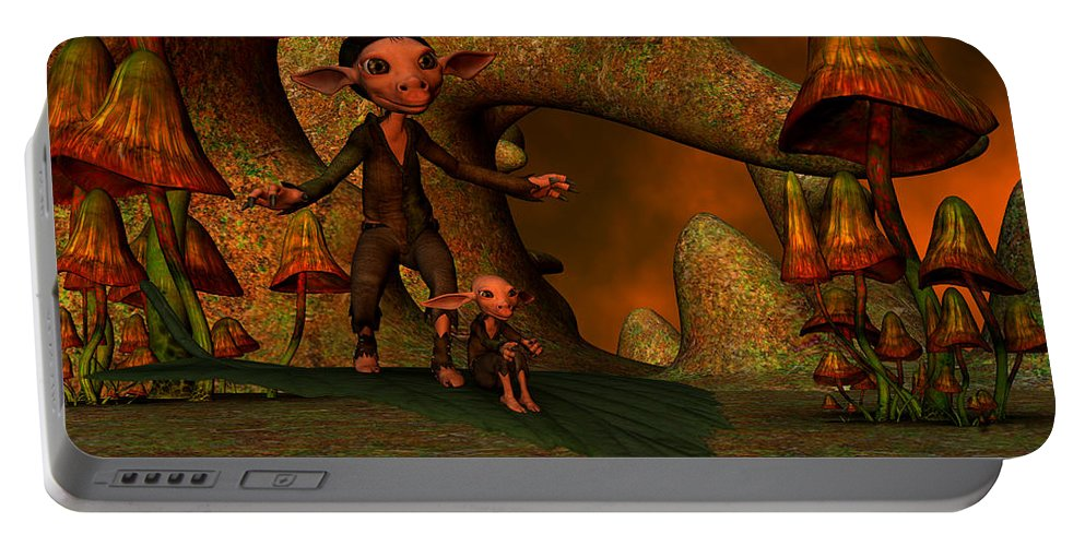 Flying Portable Battery Charger featuring the digital art Flying Through A Wonderland by Gabiw Art