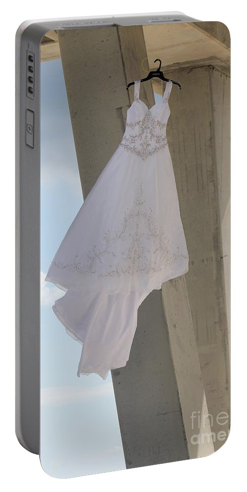 Ft.walton Beach Portable Battery Charger featuring the photograph Flying Wedding Dress 1 by Michelle Powell
