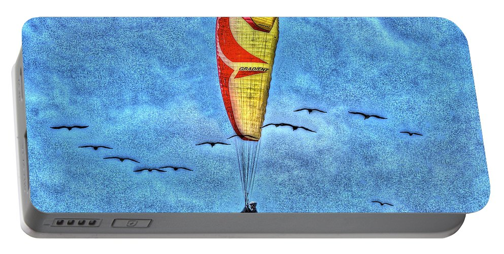 Beach Portable Battery Charger featuring the photograph Flying With The Birds by SC Heffner