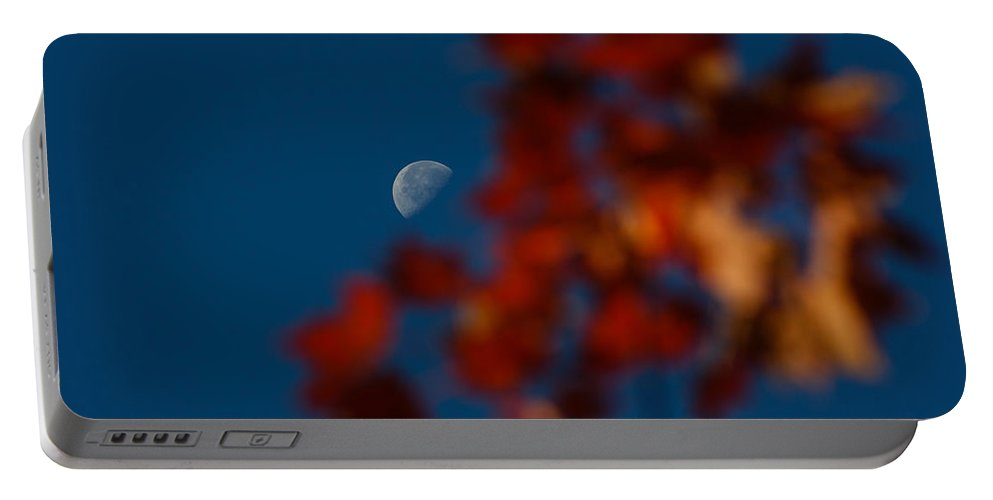 Moon Portable Battery Charger featuring the photograph Focused On The Autumn Moon by Georgia Mizuleva
