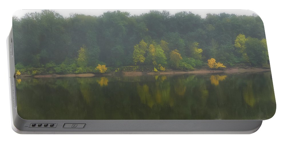 Fog Portable Battery Charger featuring the photograph Fog Along The River by Dennis Reagan