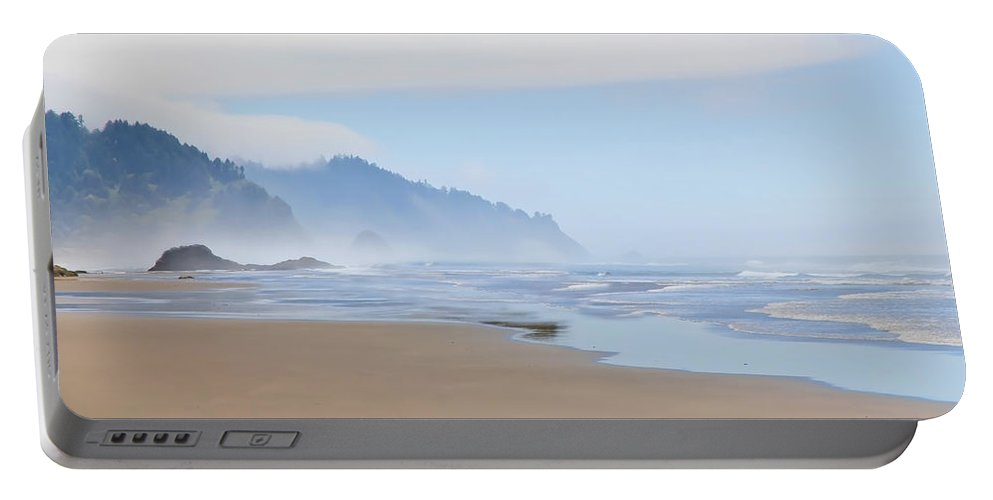 Beach Portable Battery Charger featuring the photograph Fog At The Beach by Athena Mckinzie