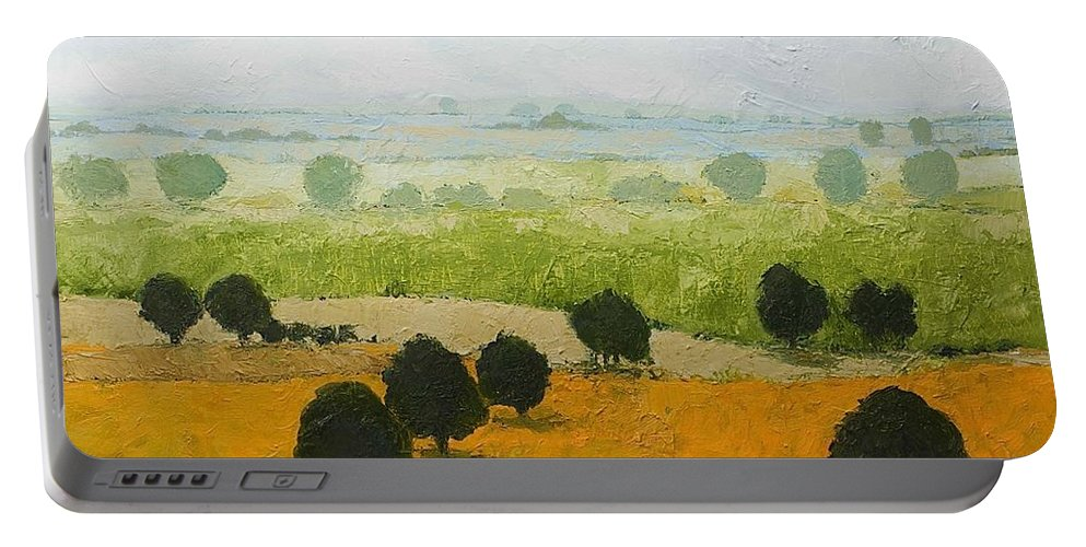 Landscape Portable Battery Charger featuring the painting Fog Lifting Fast by Allan P Friedlander