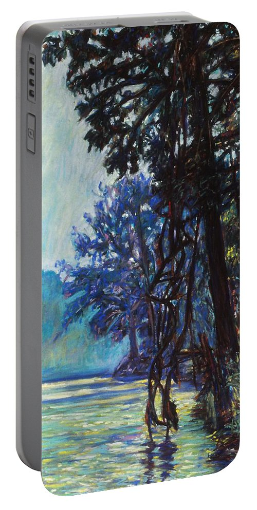 Kendall Kessler Portable Battery Charger featuring the painting Fog On The New River by Kendall Kessler