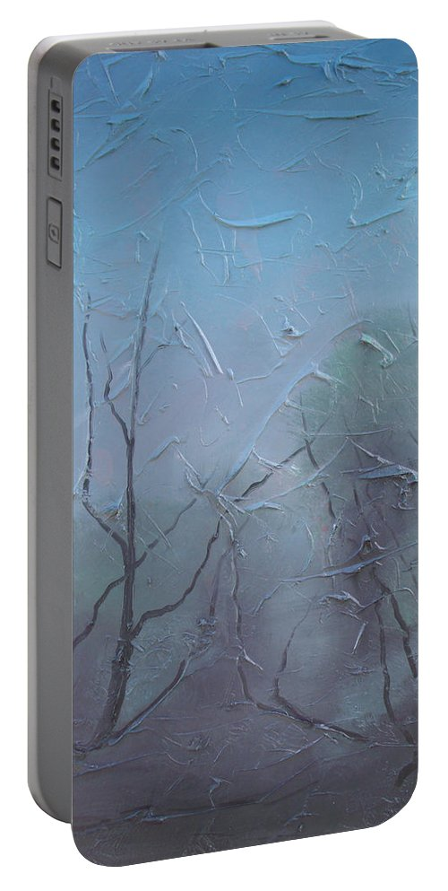 Landscape Portable Battery Charger featuring the painting Fog by Sergey Bezhinets
