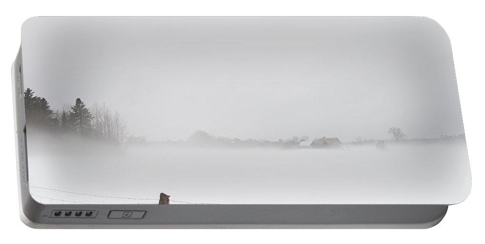 Landscapes Portable Battery Charger featuring the photograph Foggy Farm by Cheryl Baxter