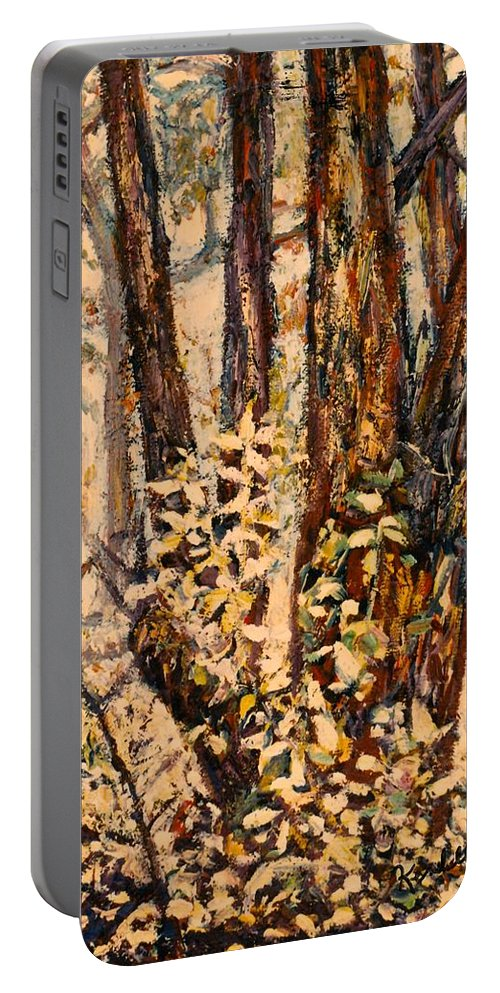 Forest Portable Battery Charger featuring the painting Foggy Forest Edge by Kendall Kessler