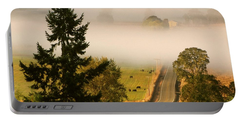 Tree Portable Battery Charger featuring the photograph Foggy Morning Drive by Katie Wing Vigil