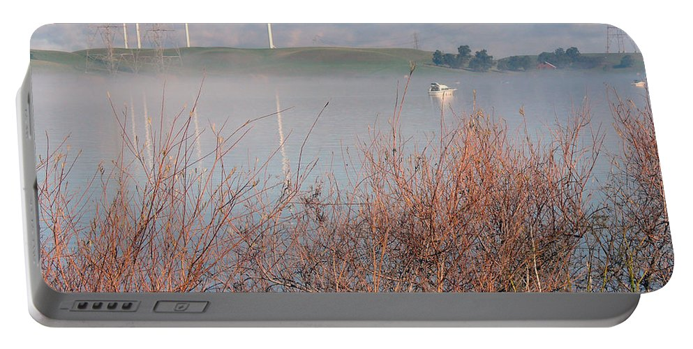 Sacramento River Portable Battery Charger featuring the photograph Foggy Morning On The Sacramento River by Afroditi Katsikis