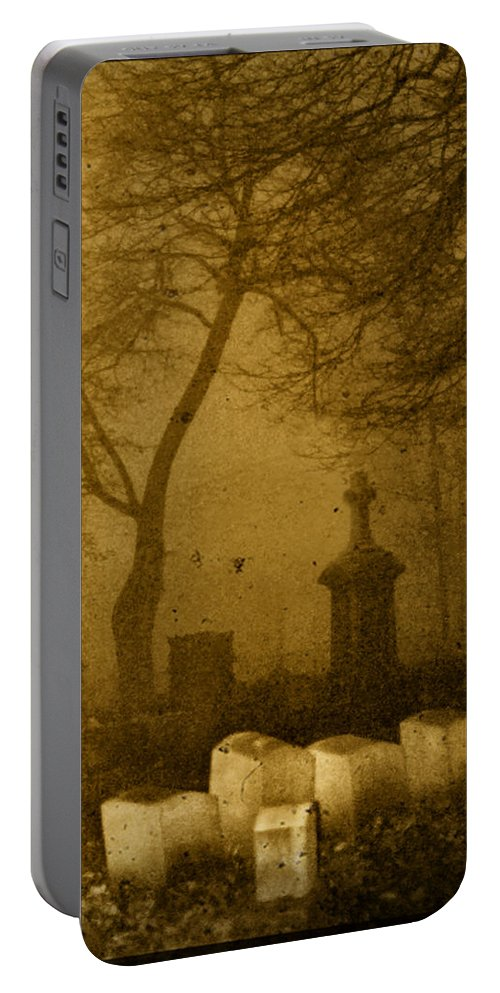 Sepia Portable Battery Charger featuring the photograph Foggy Necropolis by Gothicrow Images