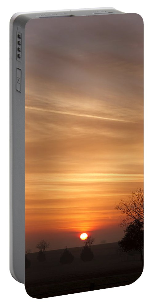 Sunrise Portable Battery Charger featuring the photograph Foggy Sunrise by Debby Richards