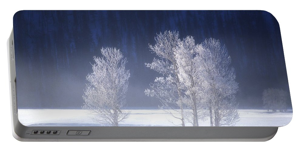 North America Portable Battery Charger featuring the photograph Foggy Sunrise In Yellowstone National Park by Dave Welling