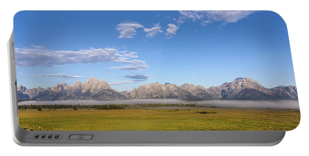The Foggy Tetons Grand Teton National Park At Sunrise Portable Battery Charger featuring the photograph Foggy Sunrise On The Tetons - Grand Teton National Park Wyoming by Brian Harig