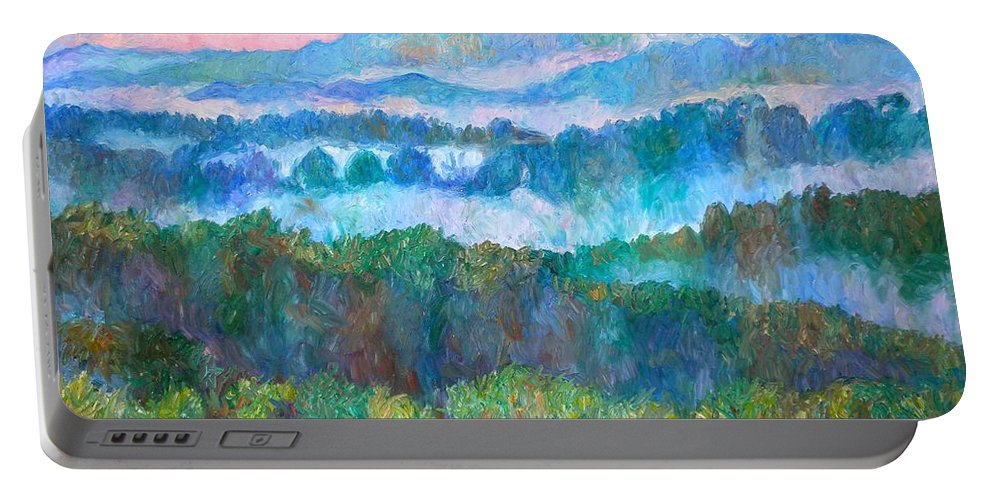 Landscape Portable Battery Charger featuring the painting Foggy View From Mill Mountain by Kendall Kessler