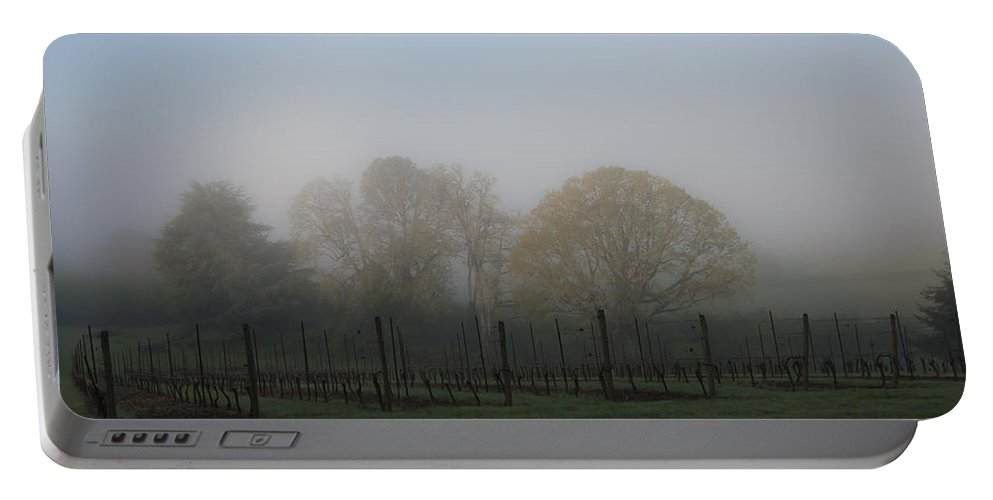 Grape Portable Battery Charger featuring the photograph Foggy Vineyard Morning by Jean Noren