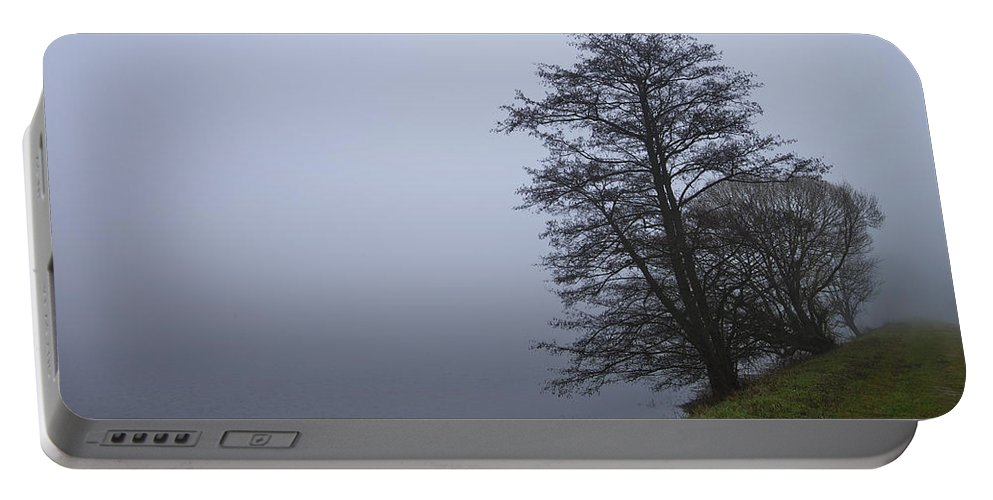 Lake Portable Battery Charger featuring the photograph Fogy Lakeside by Ivan Slosar