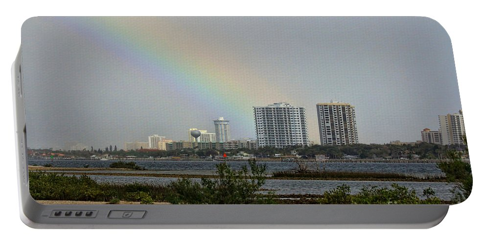 Rainbow Portable Battery Charger featuring the photograph Follow That Rainbow by Deborah Benoit