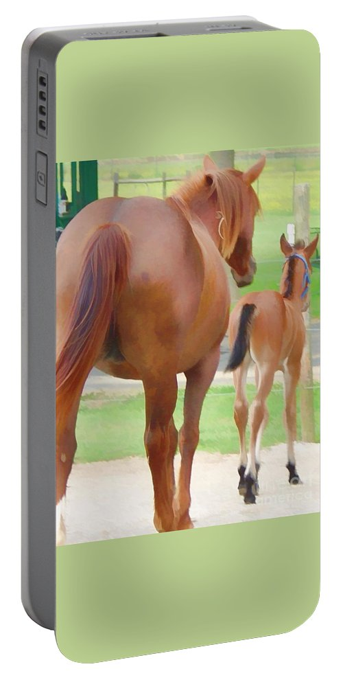 Horse Portable Battery Charger featuring the photograph Follow The Leader by Lesa Fine