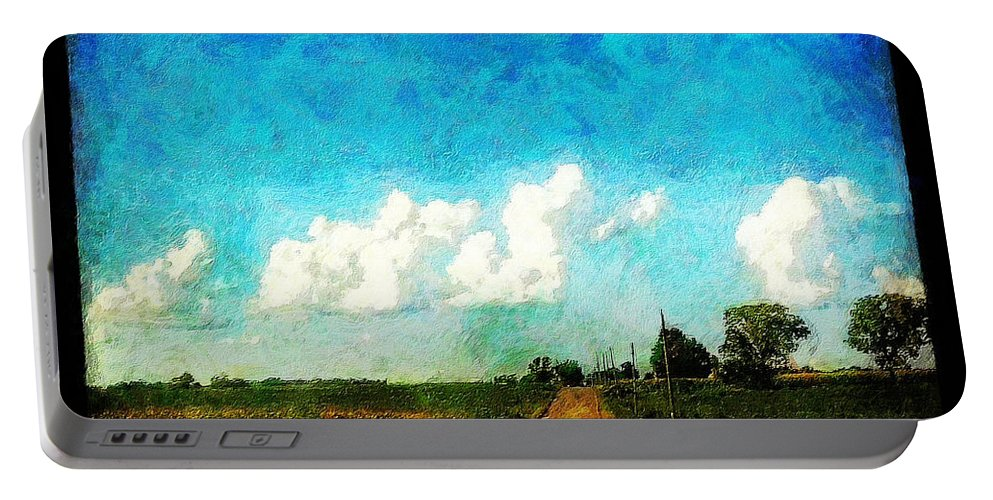 Clouds Portable Battery Charger featuring the painting Follow The Leader by Sandy MacGowan