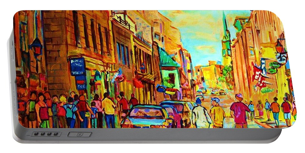 Montreal Portable Battery Charger featuring the painting Follow The Yellow Brick Road by Carole Spandau