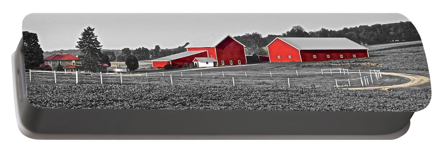 Red Portable Battery Charger featuring the photograph Follow The Yellow Dirt Road by Frozen in Time Fine Art Photography