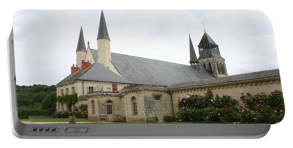 Cloister Portable Battery Charger featuring the photograph Fontevraud Abbey - France by Christiane Schulze Art And Photography