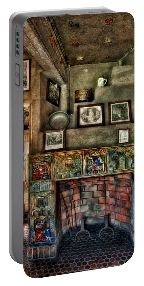 Byzantine Portable Battery Charger featuring the photograph Fonthill Castle Bedroom Fireplace by Susan Candelario