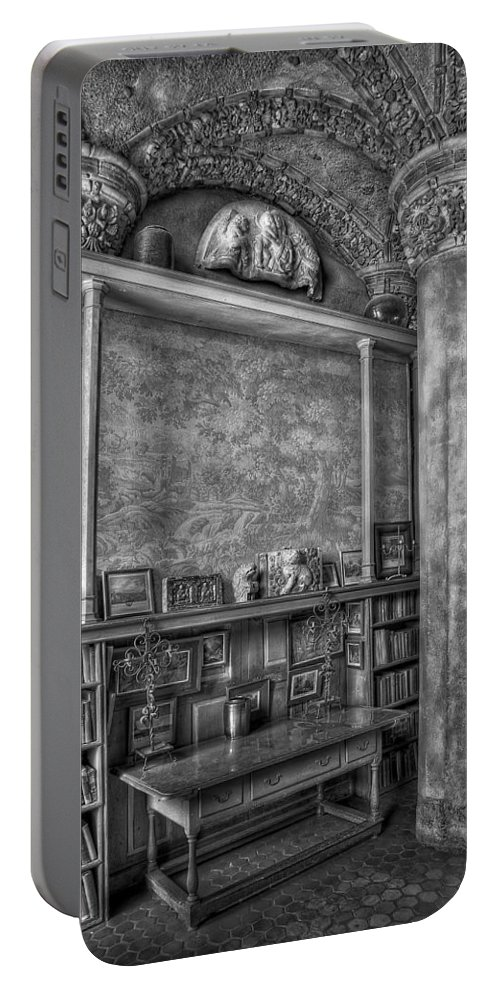 Byzantine Portable Battery Charger featuring the photograph Fonthill Castle Library by Susan Candelario