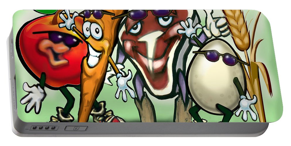 Food Groups Portable Battery Charger featuring the painting Food Groups Party by Kevin Middleton