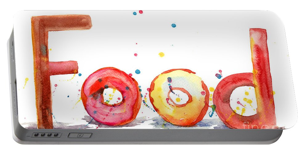 Baked Portable Battery Charger featuring the painting Food by Regina Jershova