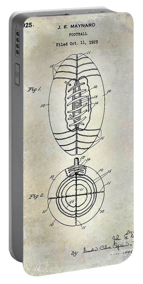 Football Patent Portable Battery Charger featuring the photograph 1925 Football Patent Drawing by Jon Neidert