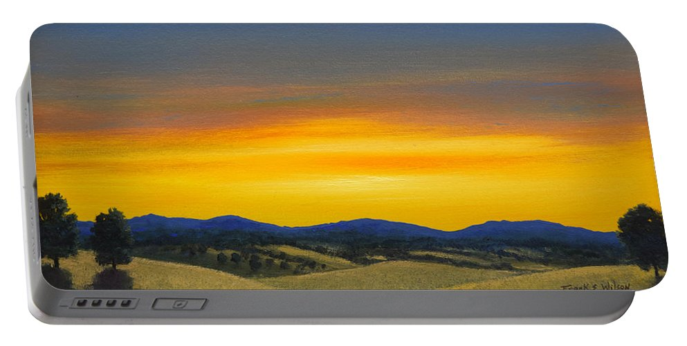 Sunrise Portable Battery Charger featuring the painting Foothills Sunrise by Frank Wilson