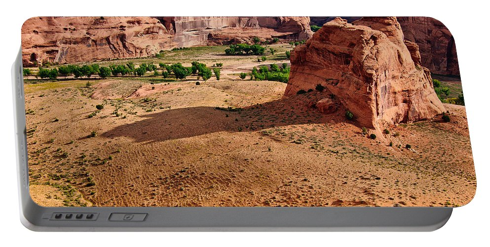 Footprints In The Sand Portable Battery Charger featuring the digital art Footprints In The Sand Canyon Dechelly by Bob and Nadine Johnston