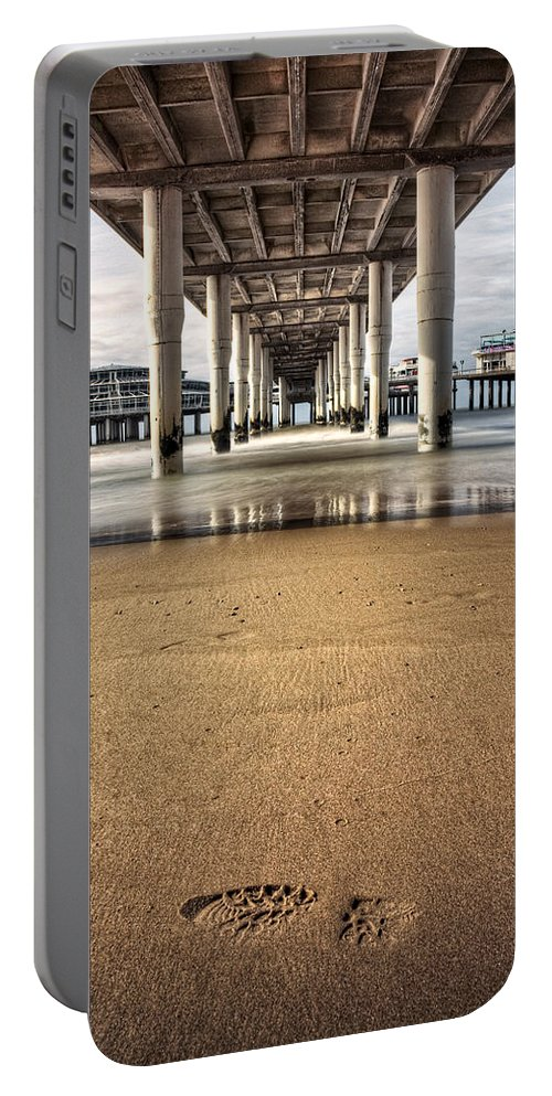 Piers Portable Battery Charger featuring the photograph Footprints In The Sand by Dave Bowman