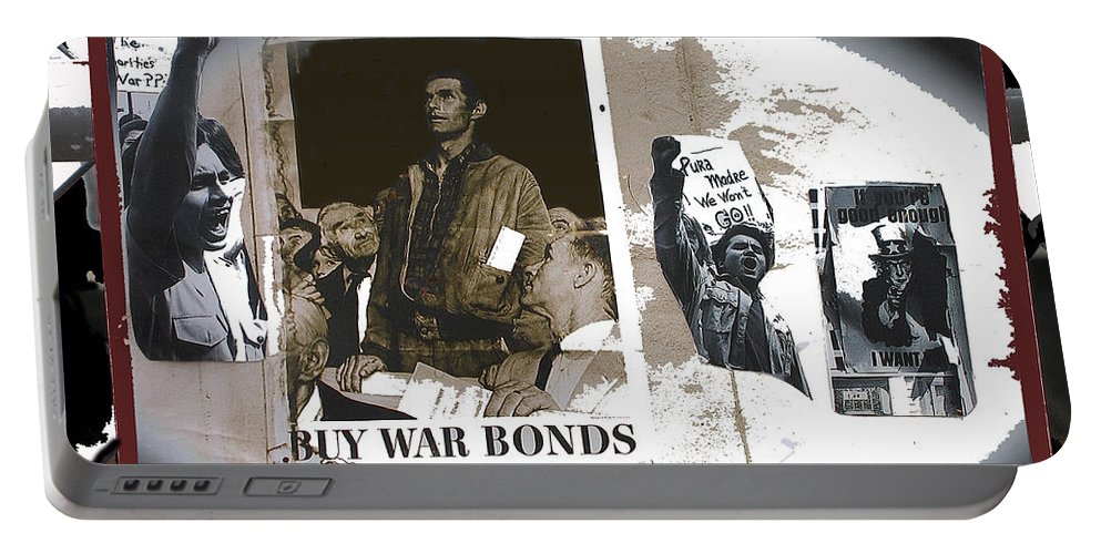 For And Against War Ww1 Ww2 Vietnam 1971-2012 Vignette Color Added Portable Battery Charger featuring the photograph For And Against War Ww1 Ww2 Vietnam 1971-2012 by David Lee Guss
