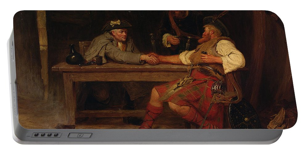 Kilt Portable Battery Charger featuring the painting For Better Or Worse - Rob Roy by John Watson Nicol