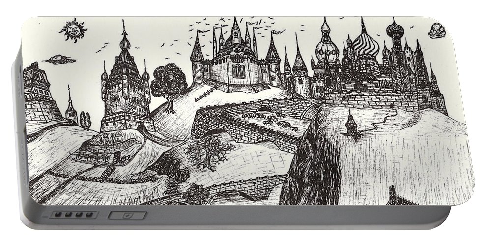 Castle Art Prints Portable Battery Charger featuring the drawing For Grandma by Peter Gumaer Ogden