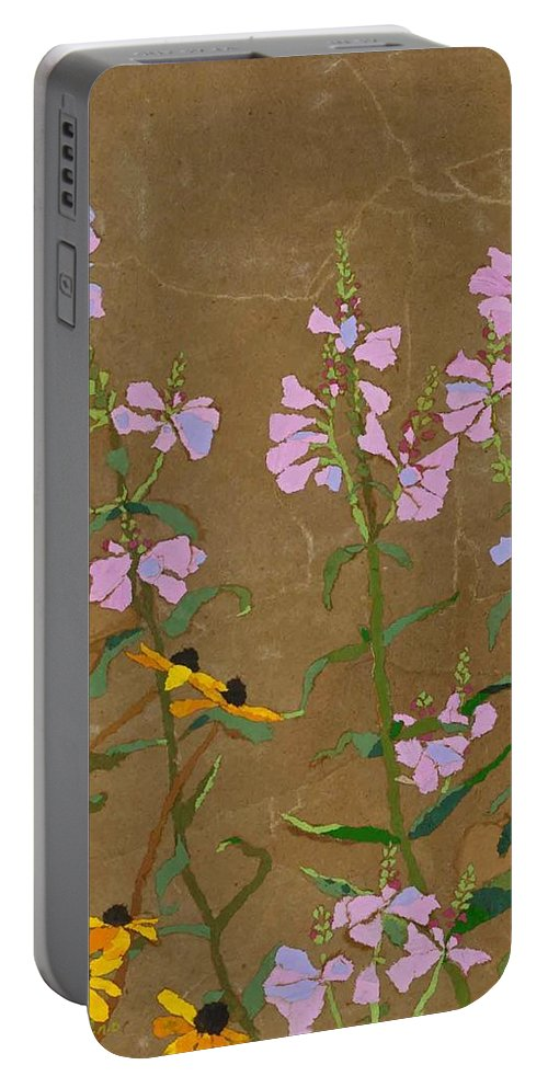 Floral Portable Battery Charger featuring the painting For Jack From Woodstock by Leah Tomaino
