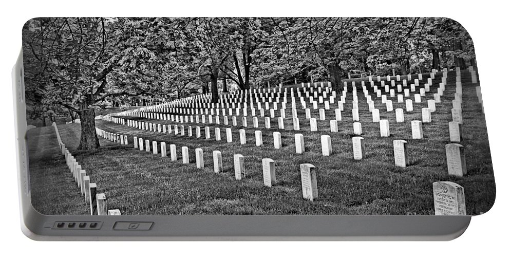 Black And White Portable Battery Charger featuring the photograph For Our Nation by DJ Florek