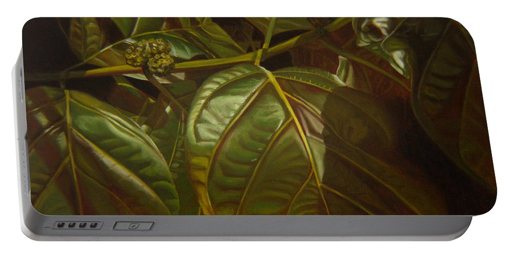 Tropical Plants Portable Battery Charger featuring the painting Forbidden Fruits by Thu Nguyen