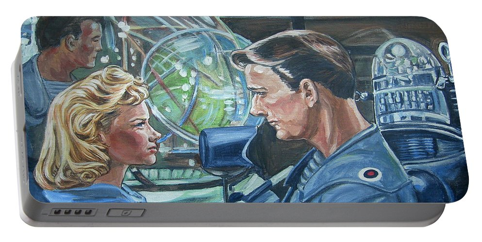 Forbidden Planet Portable Battery Charger featuring the painting Forbidden Planet by Bryan Bustard