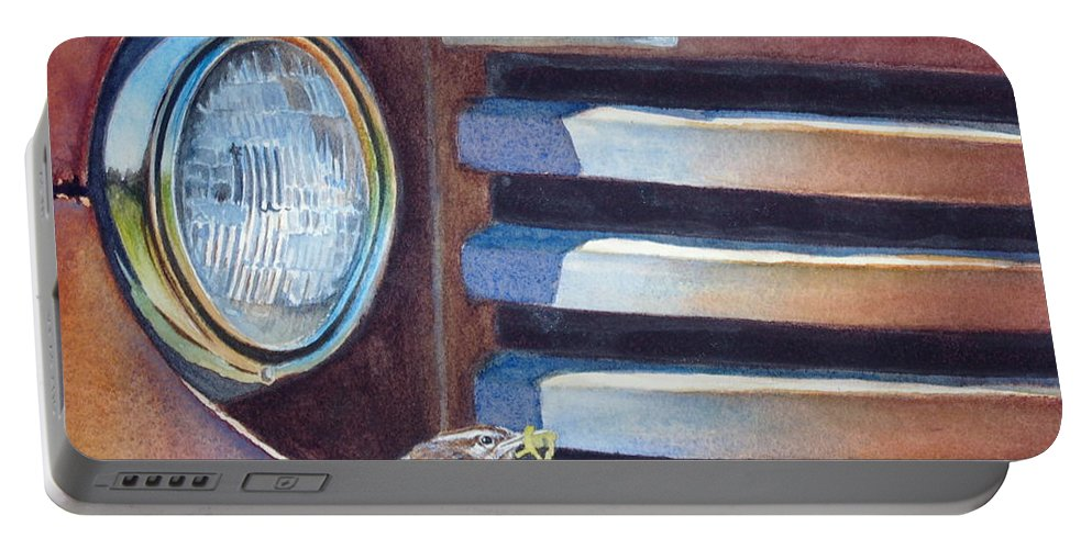 Old Truck Portable Battery Charger featuring the painting Ford And Wren by Greg and Linda Halom