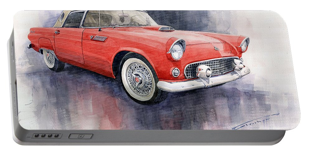 Watercolor Portable Battery Charger featuring the painting Ford Thunderbird 1955 Red by Yuriy Shevchuk