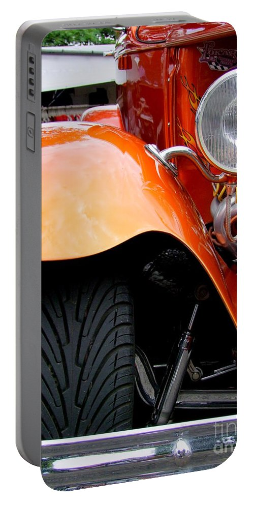 Ford V8 Portable Battery Charger featuring the photograph Ford V8 Head Lamp And Fender by Mary Deal