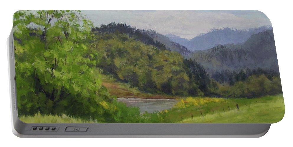 Pond Portable Battery Charger featuring the painting Ford's Pond in Spring by Karen Ilari