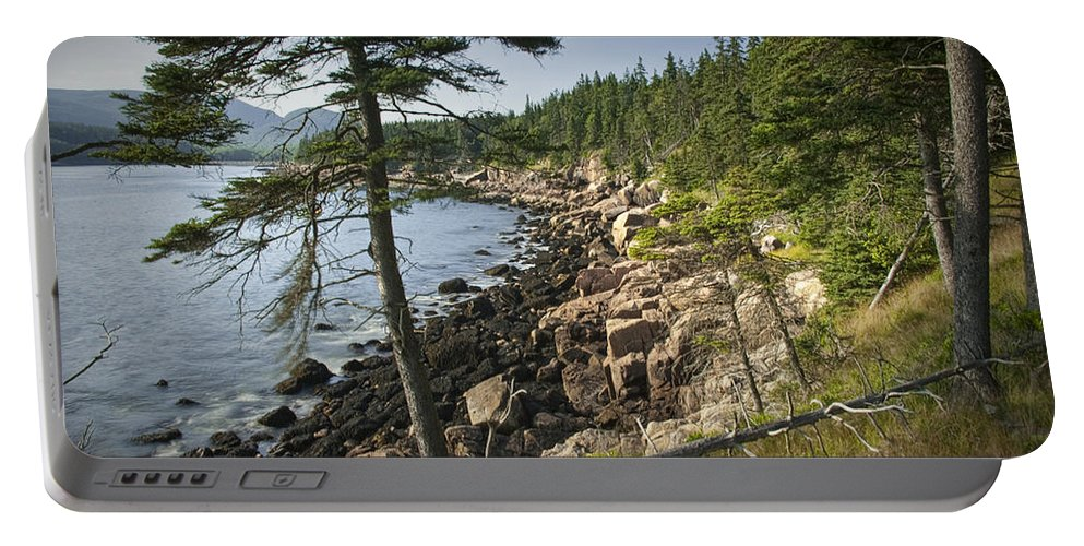 Art Portable Battery Charger featuring the photograph Forest And Rocky Shore In Acadia National Park by Randall Nyhof